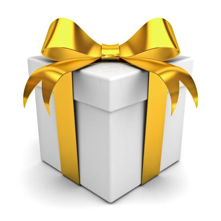 yellow ribbon: Gift box with golden ribbon bow on white background