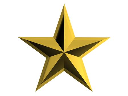 Gold star isolated over white background