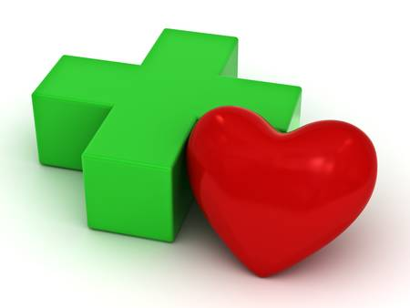 Heart health care concept, green plus or cross and red heart shape on white background photo