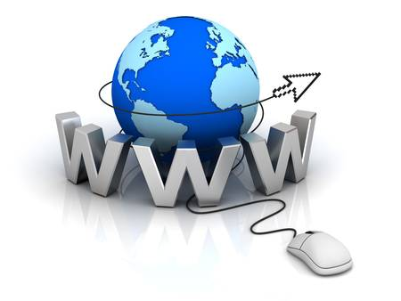 World wide web internet concept, Earth globe with computer mouse and cursor isolated on white background Stock Photo - 14821550