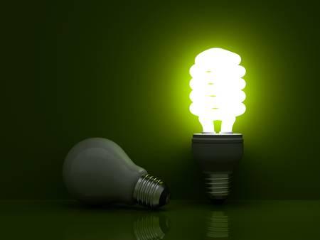 ahorro energetico: Que s tiempo para el ahorro de energía bombilla de luz, que brilla intensamente bombilla fluorescente compacta de pie cerca de bombilla apagada luz incandescente sobre fondo verde Foto de archivo