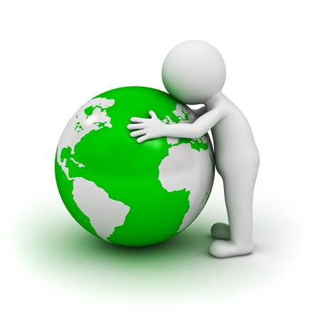sphere standing: Love the earth concept, 3d man hugging green globe on white background
