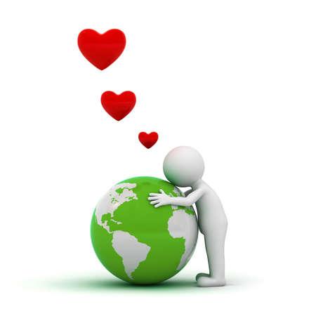 Amore il concetto terra, l'uomo 3d che abbraccia globo verde su sfondo bianco