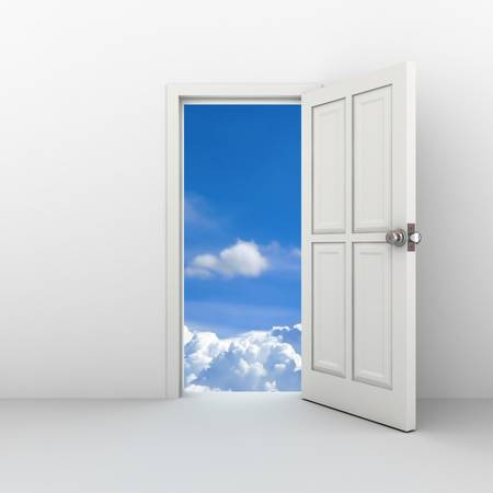 door way: Open door to the sky