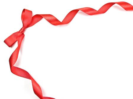 Red Bow and Red Ribbon on white background