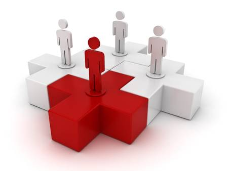 absence: Leadership and different concept, one red 3d plus jigsaw puzzle piece in front of white plus jigsaws on white background