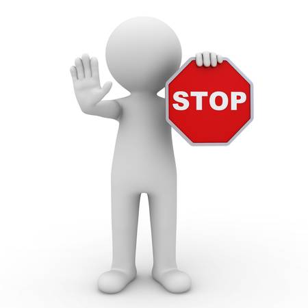 3D uomo in possesso di segnale di stop su sfondo bianco
