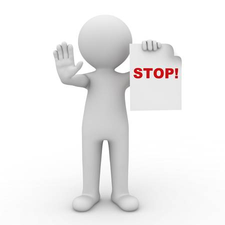 3d man making stop sign on white background photo