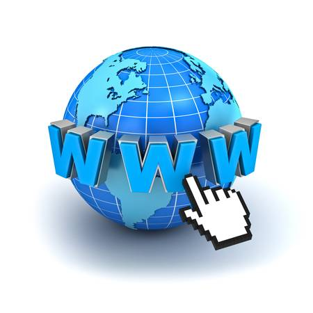 klik: Internet world wide web concept, Earth wereldbol met www tekst en computer hand cursor geïsoleerd op witte achtergrond Stockfoto