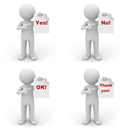 respeto: Colección del hombre 3d que sostiene el papel con palabra rojo sí, no, ok y gracias sobre fondo blanco