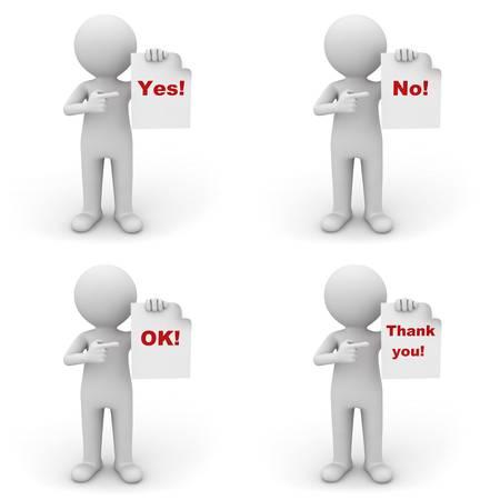 dank u: Het verzamelen van 3d man met papier met rode woord ja, nee, ok en bedankt op witte achtergrond