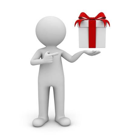 Homme 3d montrant une boîte cadeau avec ruban rouge et arc pointant du doigt il isolé sur fond blanc
