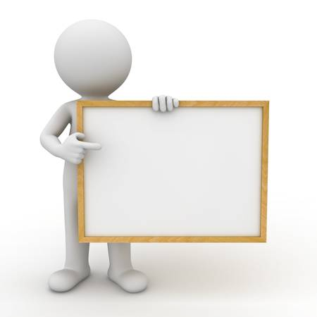 3d man holding blank board and pointing finger at it over white background 版權商用圖片
