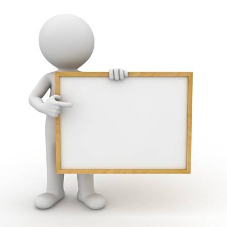 3d man met leeg bord en wijzende vinger op het over witte achtergrond Stockfoto