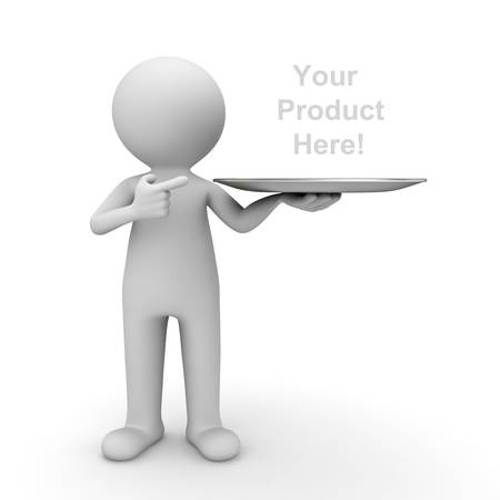 3d man showing your product on tray and pointing finger at it over white background Stock Photo - 15710554