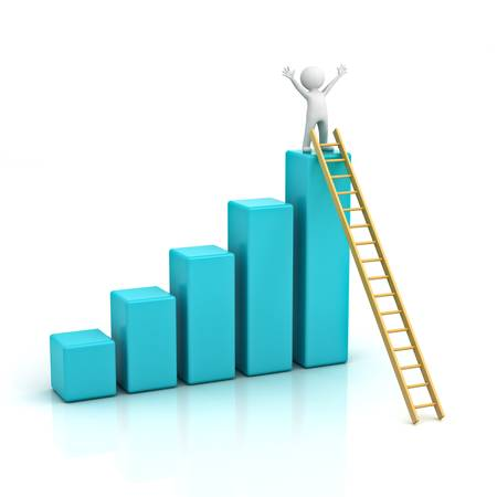 progress bar: Success concept, 3d man climbing wood ladder to the top of business growth graph over white background