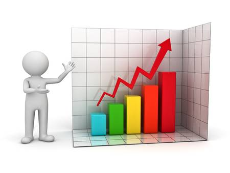present presentation: 3d man presenting successful business graph over white background