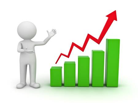 man presenting: 3d man presenting business growth chart graph over white background