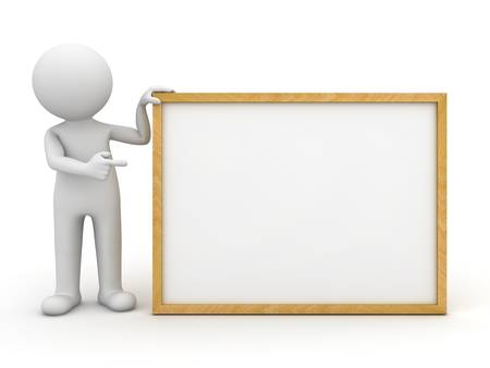 3d man holding blank board and pointing finger at it over white background Stock Photo