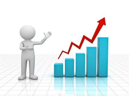3D uomo che presenta una crescita grafico di business grafico su sfondo bianco