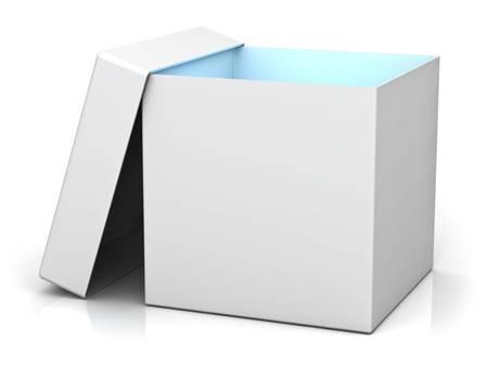 ebox: Contenitore di regalo bianco con coperchio e luce blu all'interno della casella isolato su sfondo bianco con la riflessione