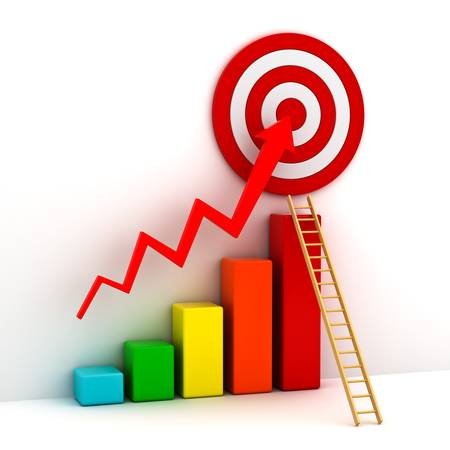 shortcut: Business target marketing concept , 3d business graph with red rising arrow to the red target and wood ladder over white background
