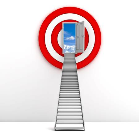 new way: Ladder to the sky door with red target behind over white background , Life goal concept Stock Photo