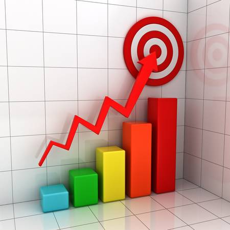 Business target marketing concept , 3d business graph with red rising arrow to the red target over white background with reflection