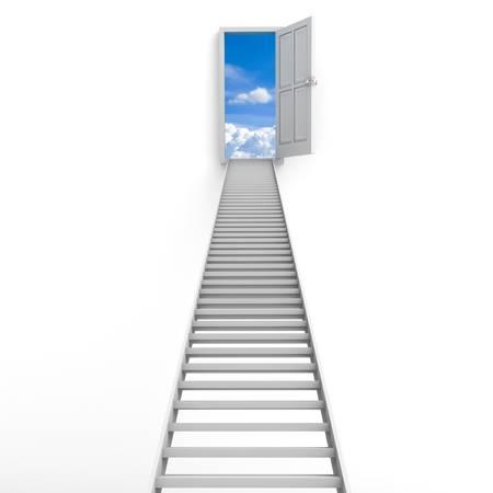 portone: Scala verso il cielo isolato su sfondo bianco