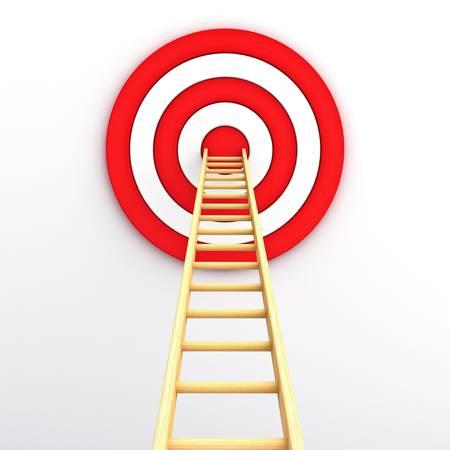 Échelle pour le milieu de la cible rouge sur fond blanc Banque d'images