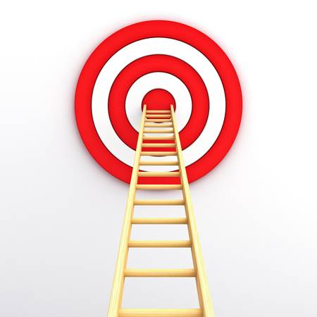 hitting: Ladder to the middle of the red target on white background Stock Photo