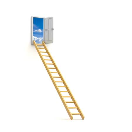 Ladder to sky door isolated over white background photo
