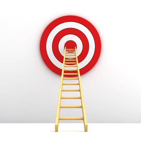 Ladder to the middle of the red target on white background photo