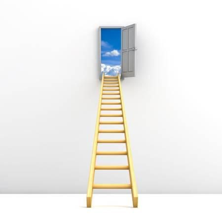 Ladder to the sky concept over white background photo