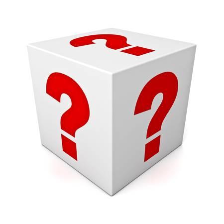 Les points d'interrogation sur la boîte blanche isolée sur fond blanc