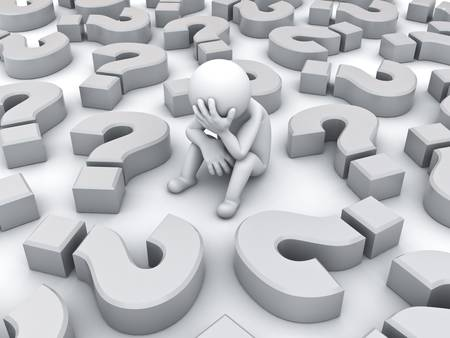 tough times: Stressed 3d man sitting amongst question marks on white background , Tough times concept