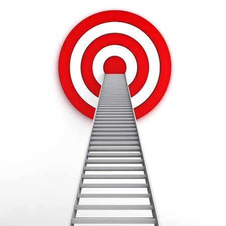 Ladder to the middle of the red target on white background , The business marketing concept photo