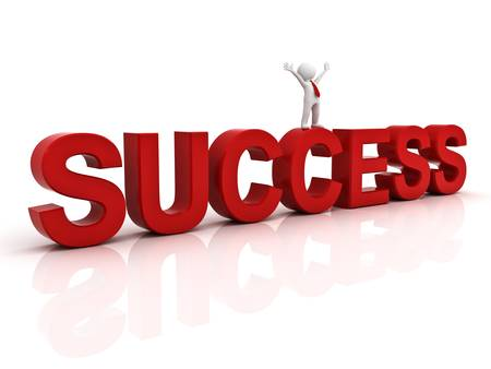 Success in business concept happy 3d man standing on top of the word success over white background with reflection photo