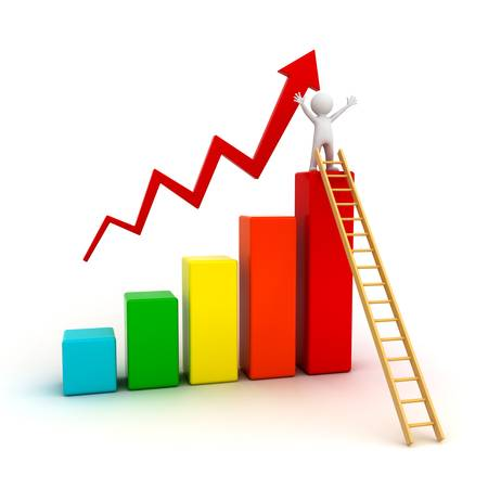 Success concept, 3d man on top of business growth graph with wood ladder over white background