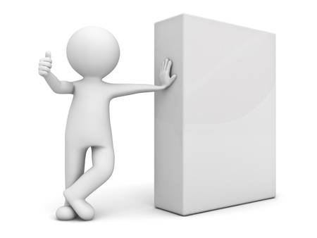 3d man showing thumb up with blank box over white background photo