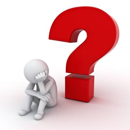 answers questions: 3D uomo seduto con punto interrogativo rosso su sfondo bianco