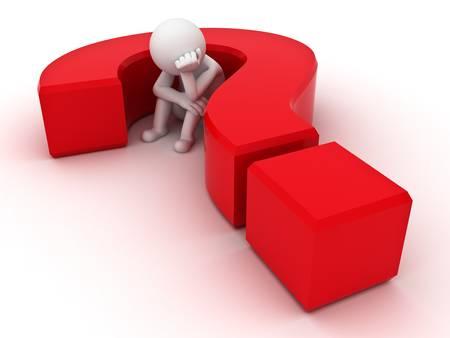 hombre pensando: Hombre 3d que se sienta en signo de interrogaci�n rojo sobre fondo blanco