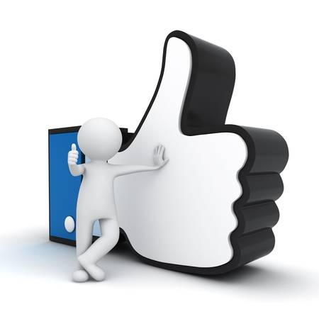 like button: 3d man showing thumb up with like hand symbol over white background Stock Photo