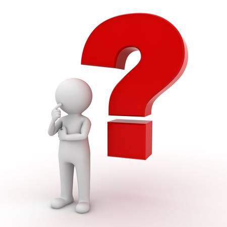 dudas: Hombre 3d con el signo de interrogación rojo sobre fondo blanco