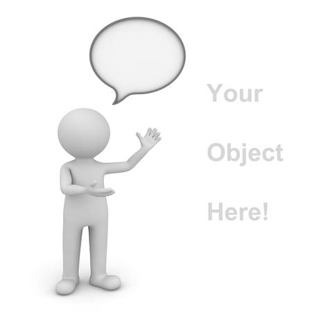 3d man presenting your product over white background with speech bubble photo