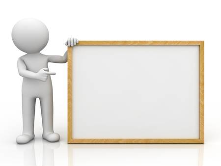 3d man holding blank board and pointing finger at it over white background with reflection Stock Photo - 16202541