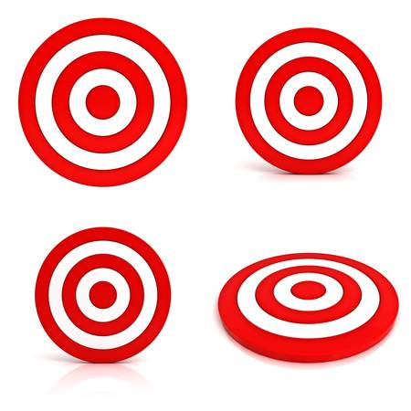 target market: Collection of red targets isolated on white background