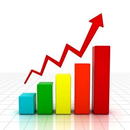 Business-Grafik mit roter steigenden Pfeil auf weißem Hintergrund mit Reflexion