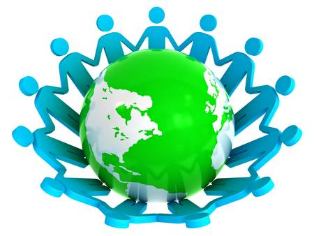 Group of people holding hands around green globe isolated on white background photo