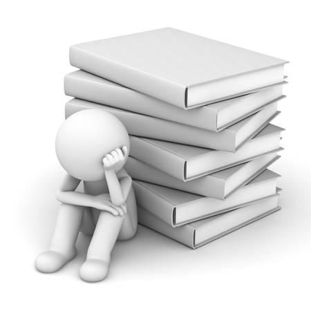 Preoccupato 3D uomo seduto con una pila di libri su sfondo bianco